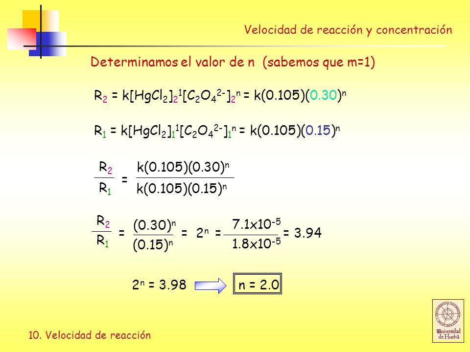 Determinamos el valor de n (sabemos que m=1)