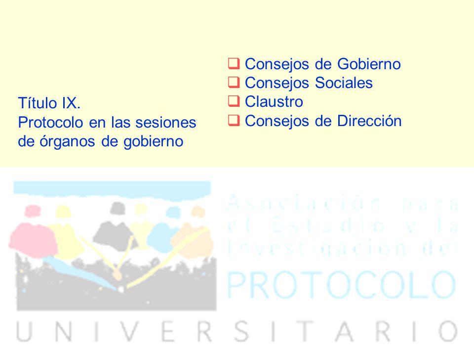 Título IX. Protocolo en las sesiones de órganos de gobierno