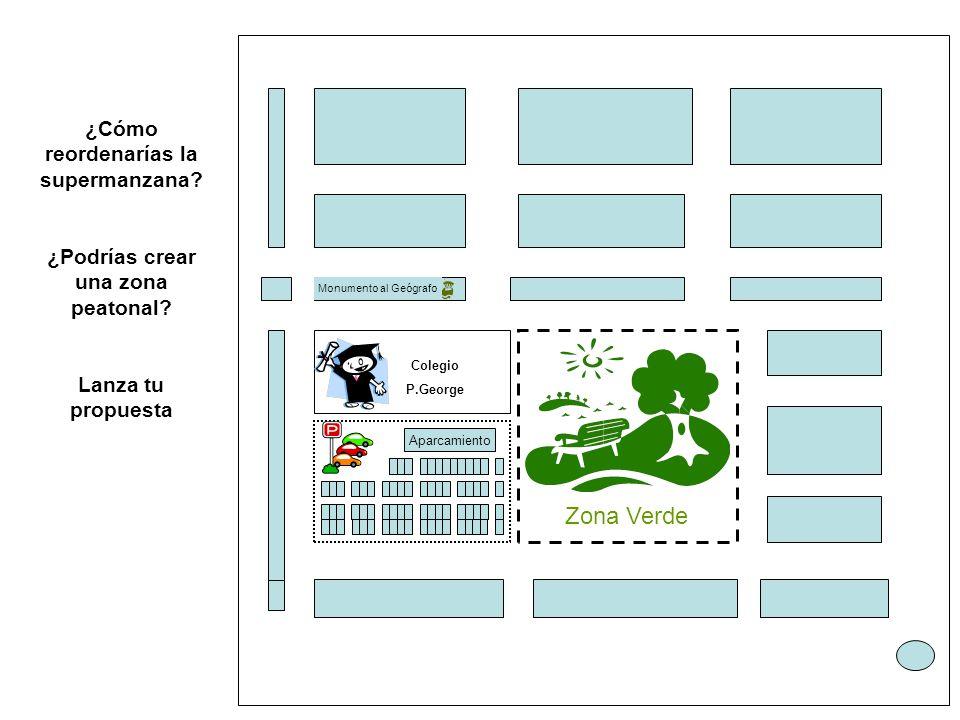 ¿Cómo reordenarías la supermanzana ¿Podrías crear una zona peatonal