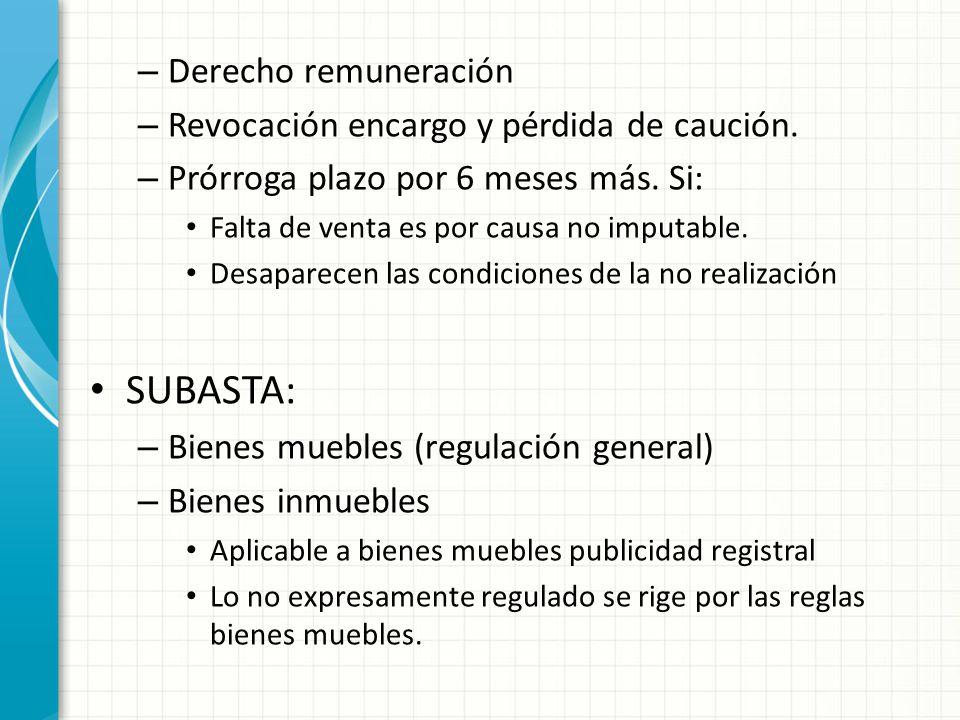 SUBASTA: Derecho remuneración Revocación encargo y pérdida de caución.