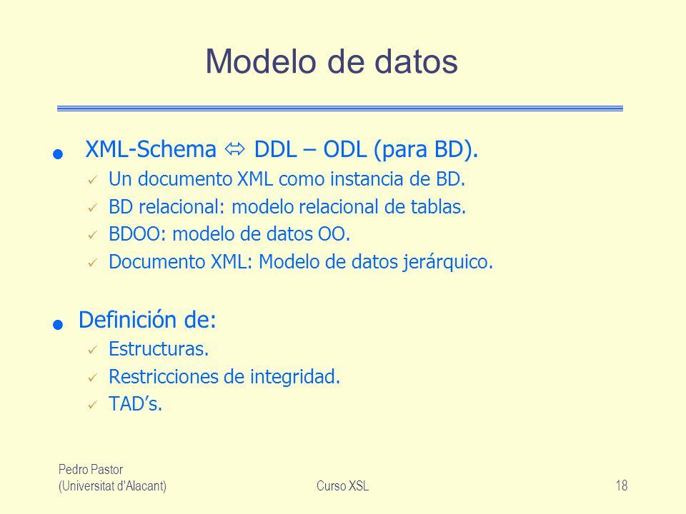 Modelo de datos XML-Schema  DDL – ODL (para BD). Definición de: