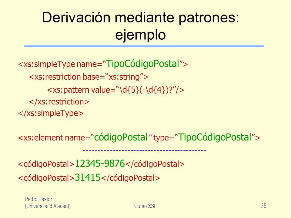 Derivación mediante patrones: ejemplo