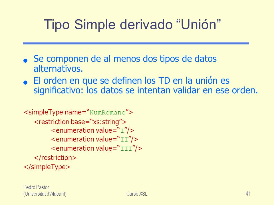 Tipo Simple derivado Unión