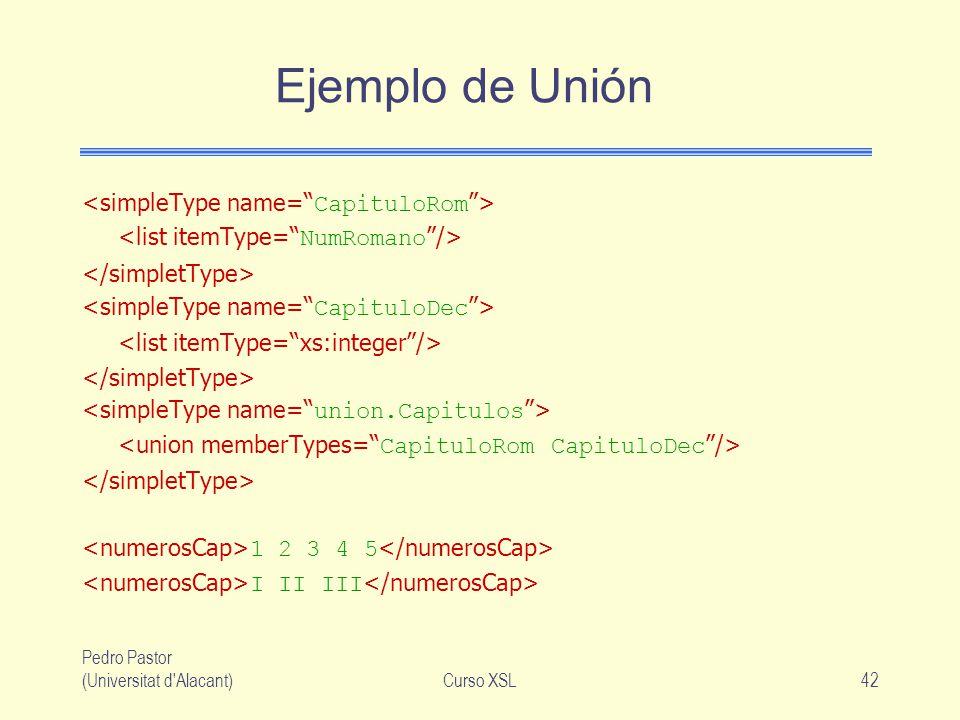 Ejemplo de Unión <simpleType name= CapituloRom >