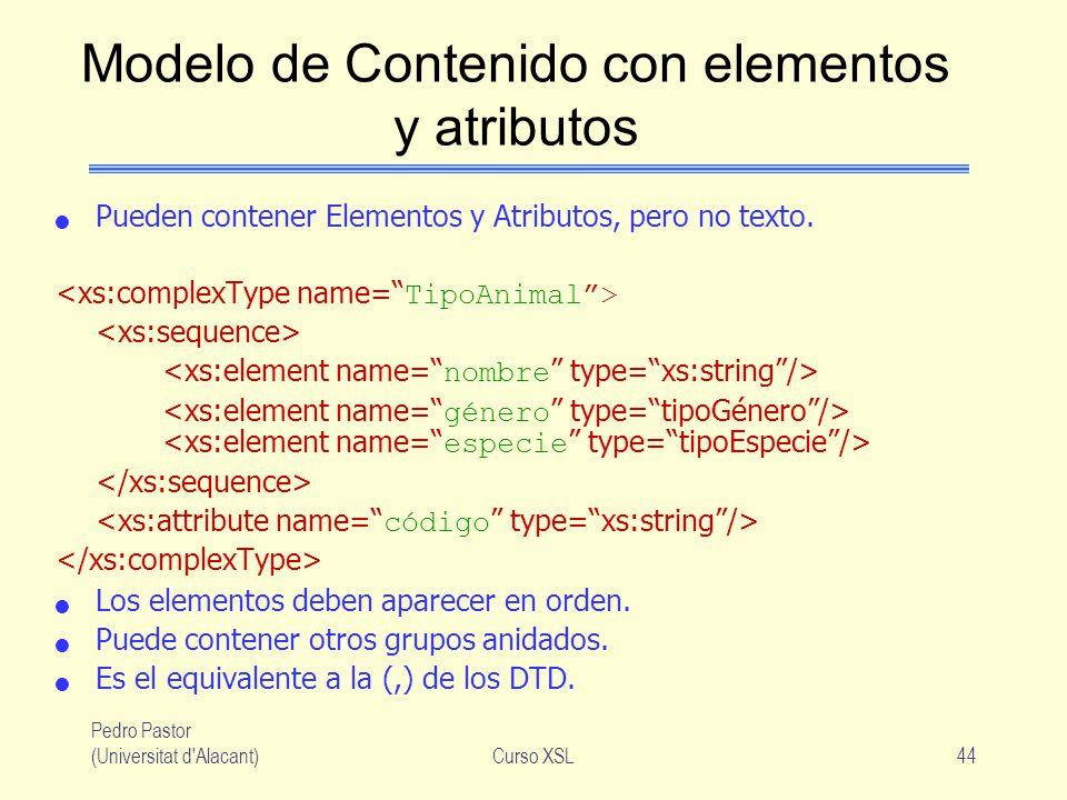 Modelo de Contenido con elementos y atributos