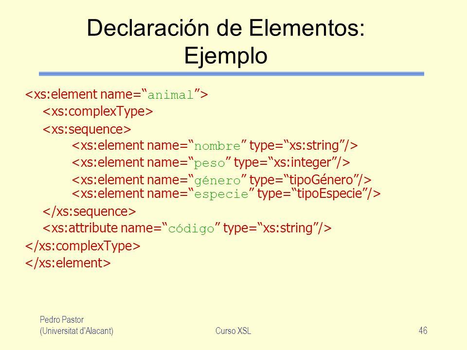 Declaración de Elementos: Ejemplo