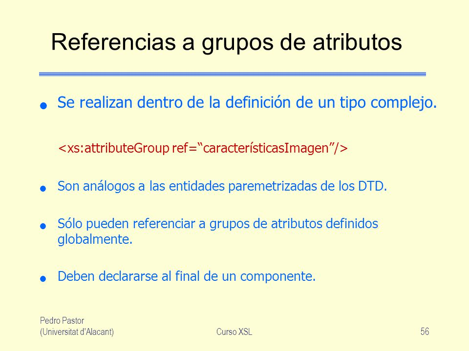 Referencias a grupos de atributos