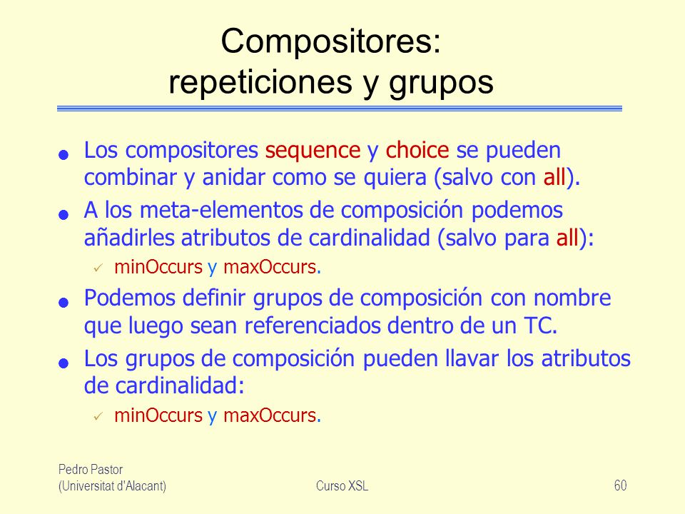 Compositores: repeticiones y grupos