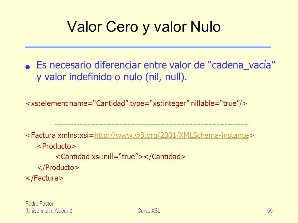 Valor Cero y valor Nulo Es necesario diferenciar entre valor de cadena_vacía y valor indefinido o nulo (nil, null).