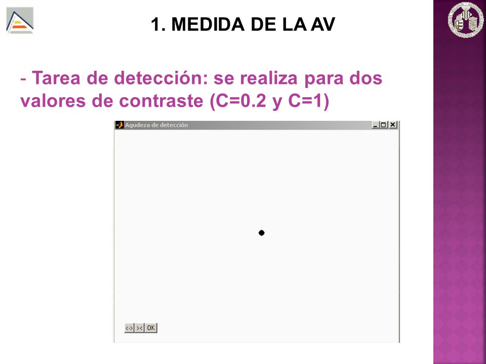 1. MEDIDA DE LA AV Tarea de detección: se realiza para dos valores de contraste (C=0.2 y C=1)