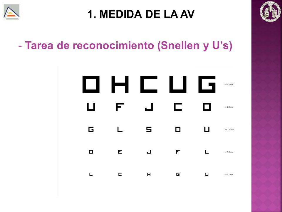 1. MEDIDA DE LA AV Tarea de reconocimiento (Snellen y U's)