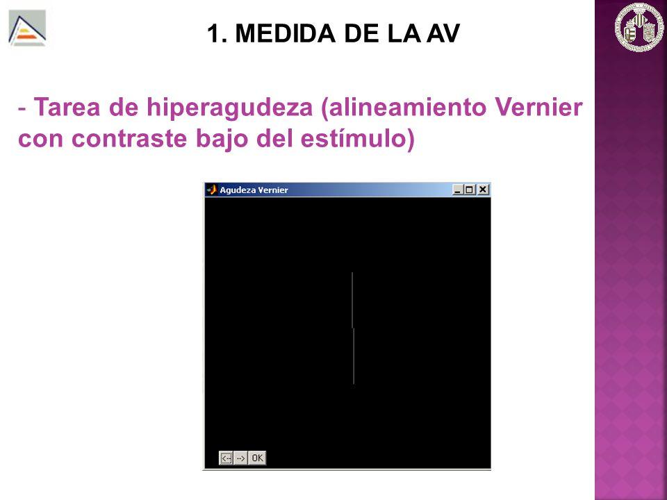 1. MEDIDA DE LA AV Tarea de hiperagudeza (alineamiento Vernier con contraste bajo del estímulo)