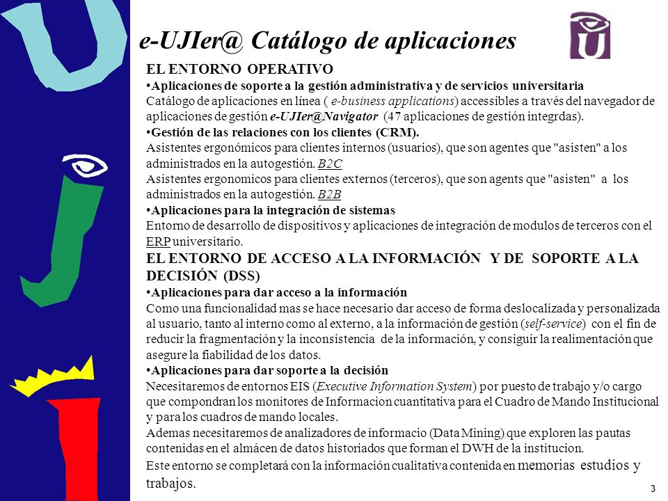 e-UJIer@ Catálogo de aplicaciones