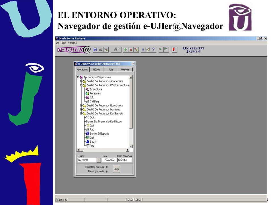 EL ENTORNO OPERATIVO: Navegador de gestión e-UJIer@Navegador
