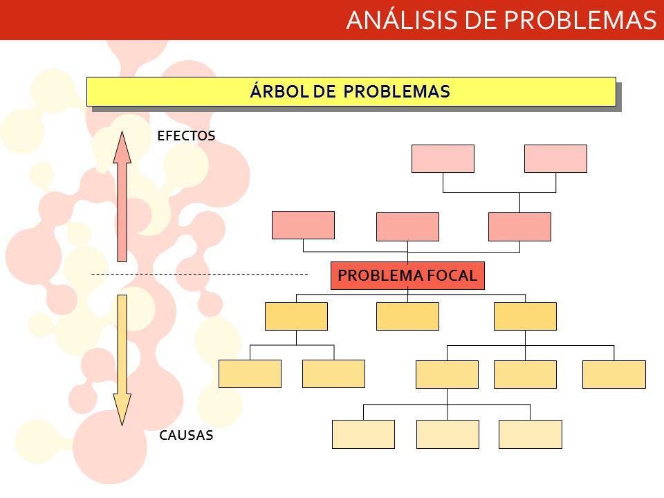 ANÁLISIS DE PROBLEMAS ÁRBOL DE PROBLEMAS EFECTOS PROBLEMA FOCAL CAUSAS