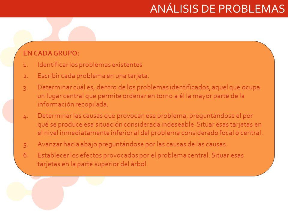 ANÁLISIS DE PROBLEMAS EN CADA GRUPO: