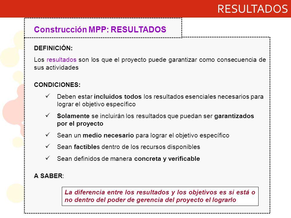 RESULTADOS Construcción MPP: RESULTADOS DEFINICIÓN: