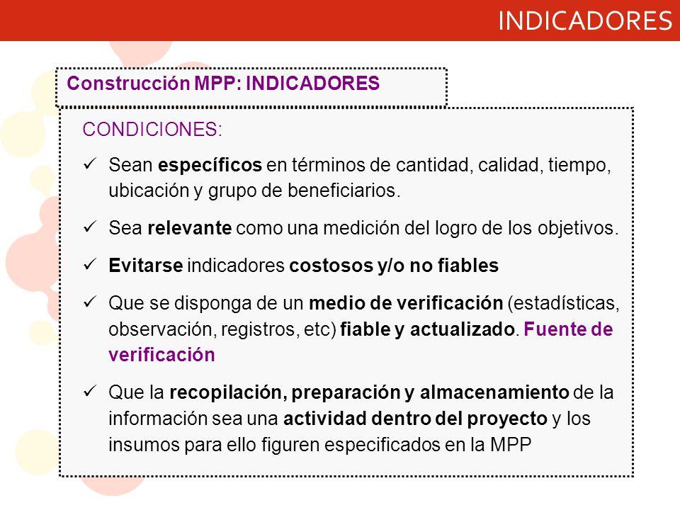 INDICADORES Construcción MPP: INDICADORES CONDICIONES: