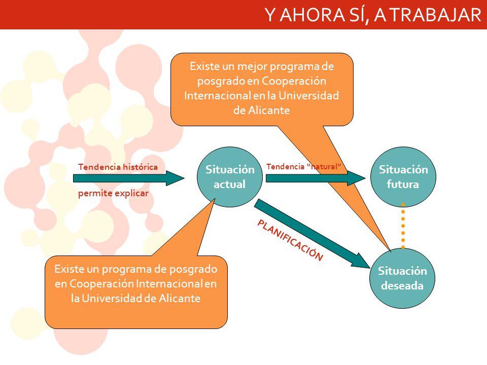 Y AHORA SÍ, A TRABAJAR Existe un mejor programa de posgrado en Cooperación Internacional en la Universidad de Alicante.