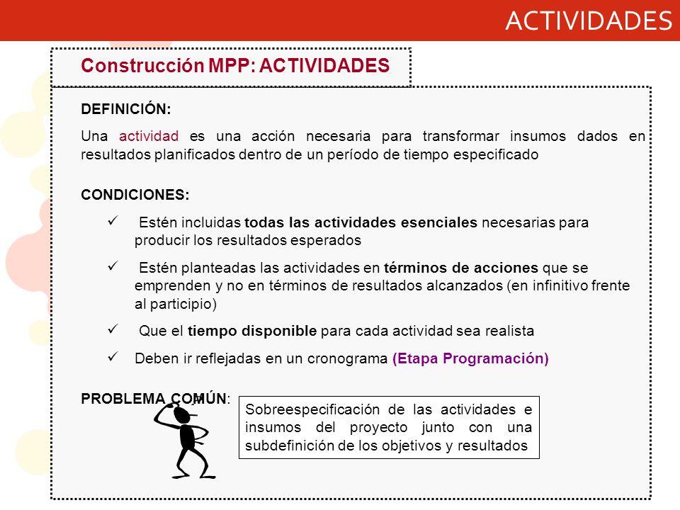 ACTIVIDADES Construcción MPP: ACTIVIDADES DEFINICIÓN: