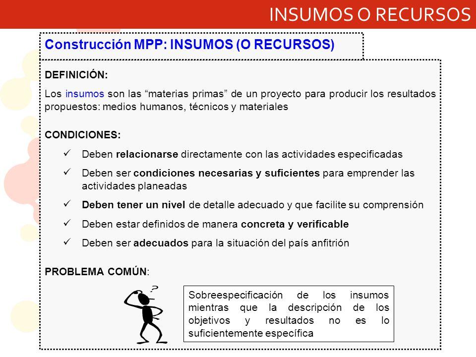 INSUMOS O RECURSOS Construcción MPP: INSUMOS (O RECURSOS) DEFINICIÓN: