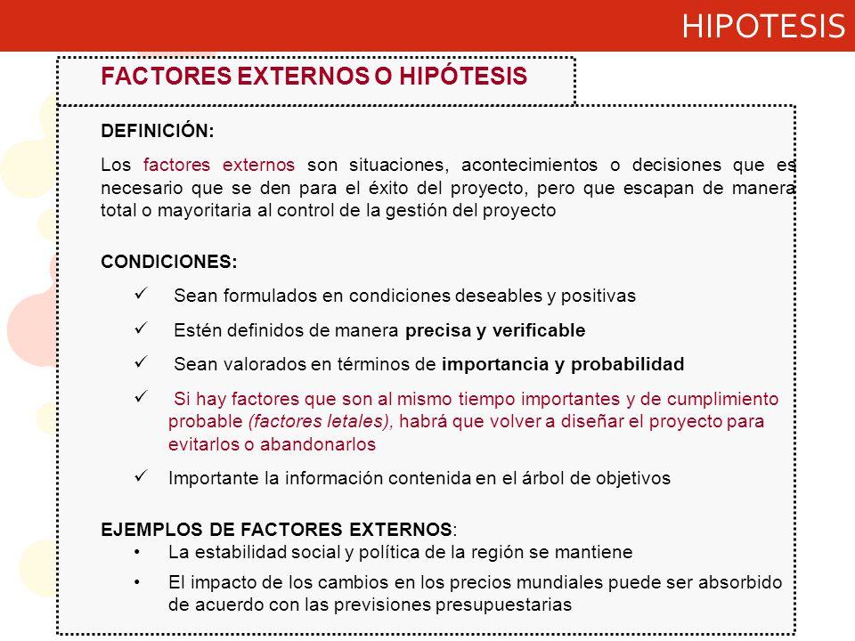 HIPOTESIS FACTORES EXTERNOS O HIPÓTESIS DEFINICIÓN: