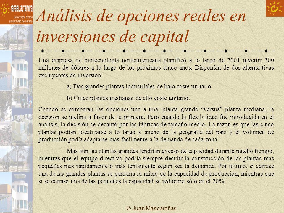 Análisis de opciones reales en inversiones de capital