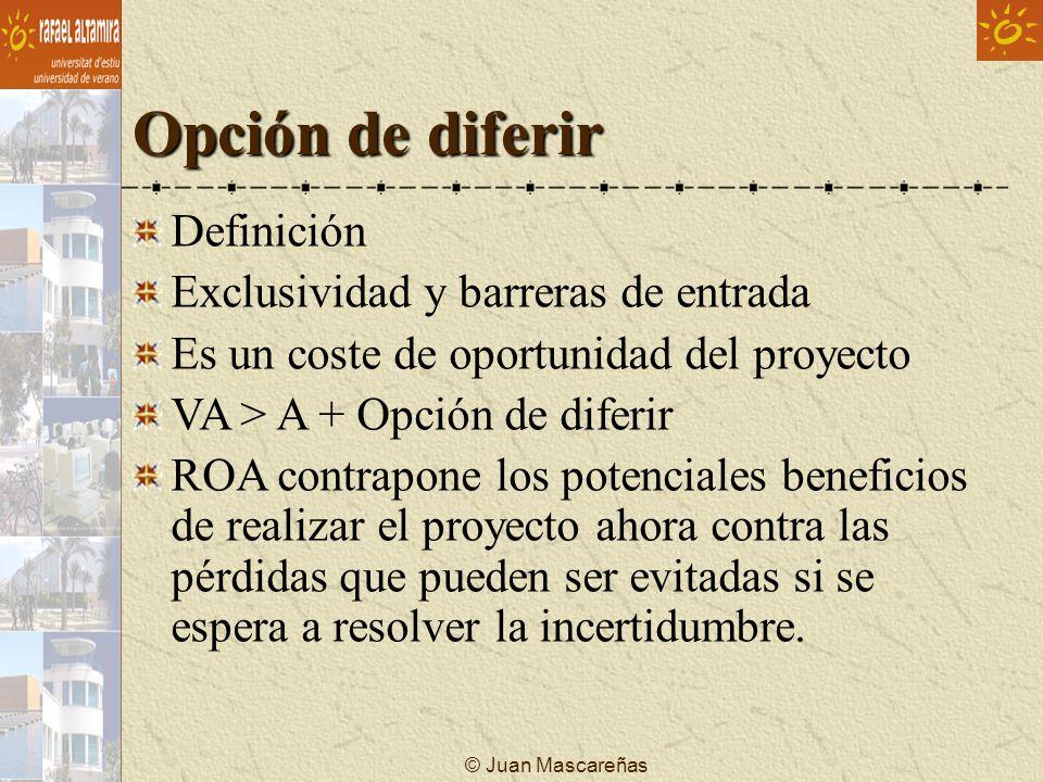 Opción de diferir Definición Exclusividad y barreras de entrada