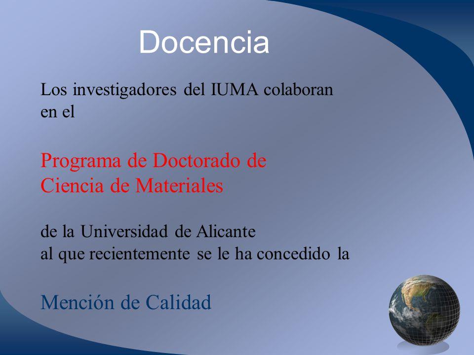Docencia Programa de Doctorado de Ciencia de Materiales