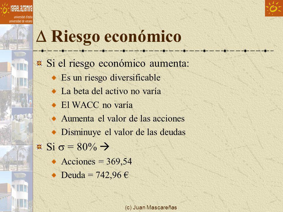 D Riesgo económico Si el riesgo económico aumenta: Si s = 80% 