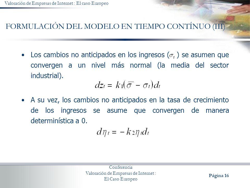 FORMULACIÓN DEL MODELO EN TIEMPO CONTÍNUO (III)