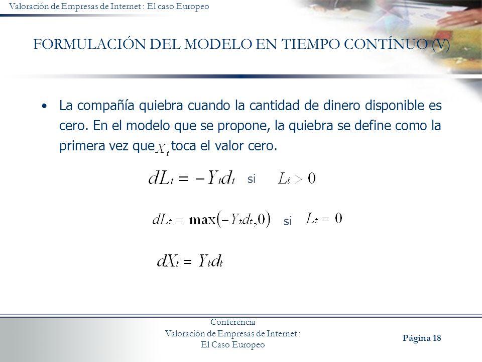 FORMULACIÓN DEL MODELO EN TIEMPO CONTÍNUO (V)