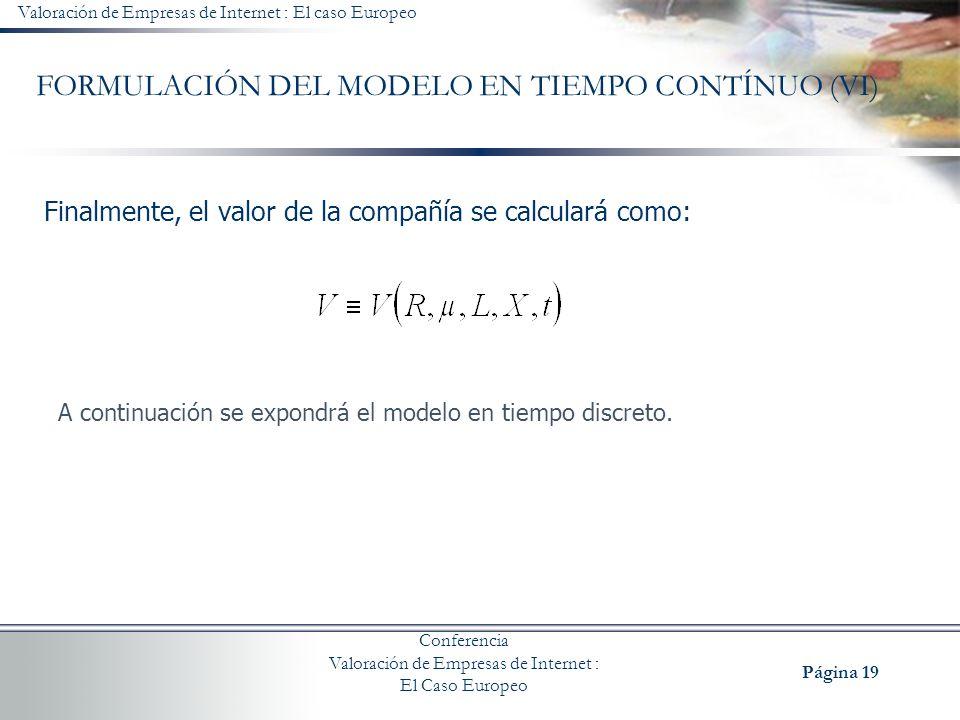FORMULACIÓN DEL MODELO EN TIEMPO CONTÍNUO (VI)