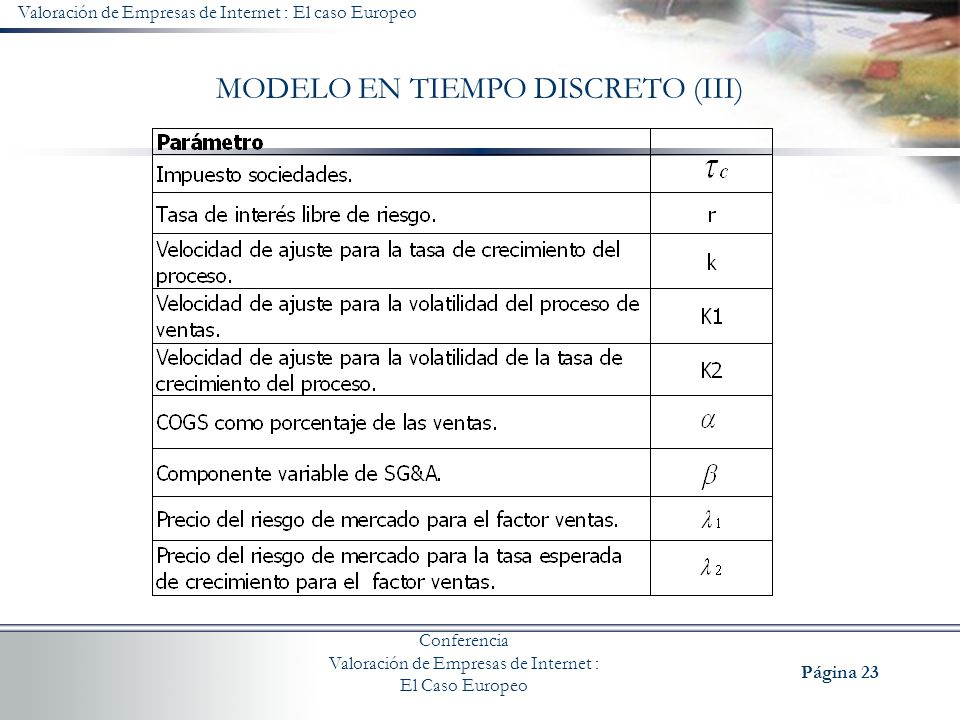 MODELO EN TIEMPO DISCRETO (III)