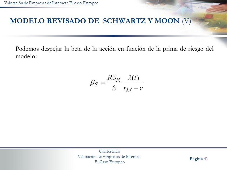 MODELO REVISADO DE SCHWARTZ Y MOON (V)