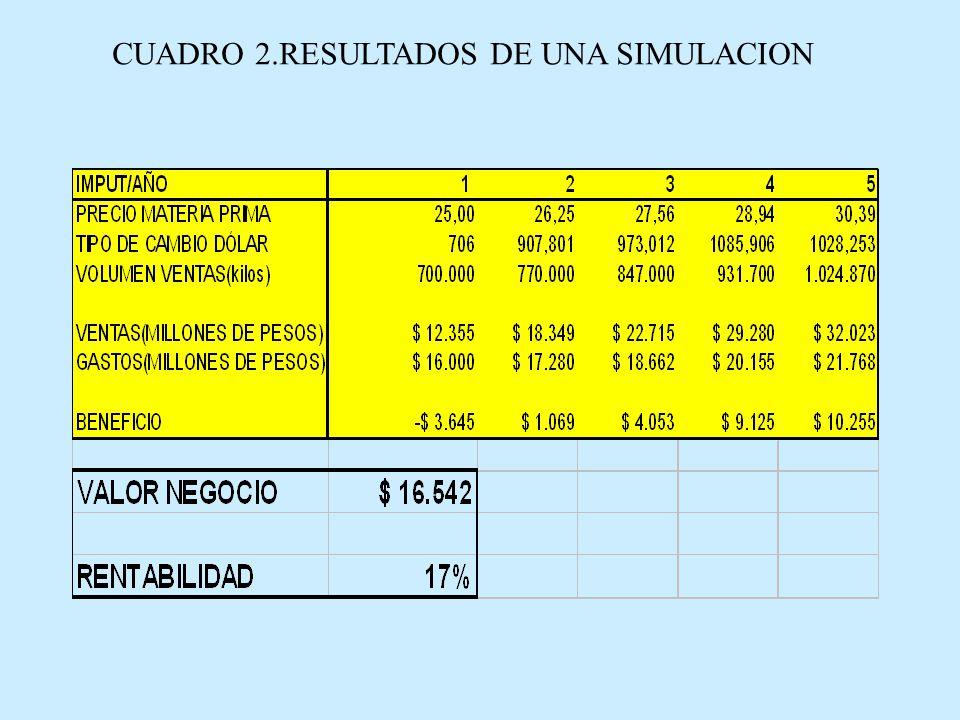 CUADRO 2.RESULTADOS DE UNA SIMULACION