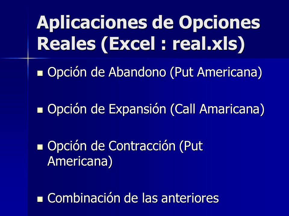 Aplicaciones de Opciones Reales (Excel : real.xls)