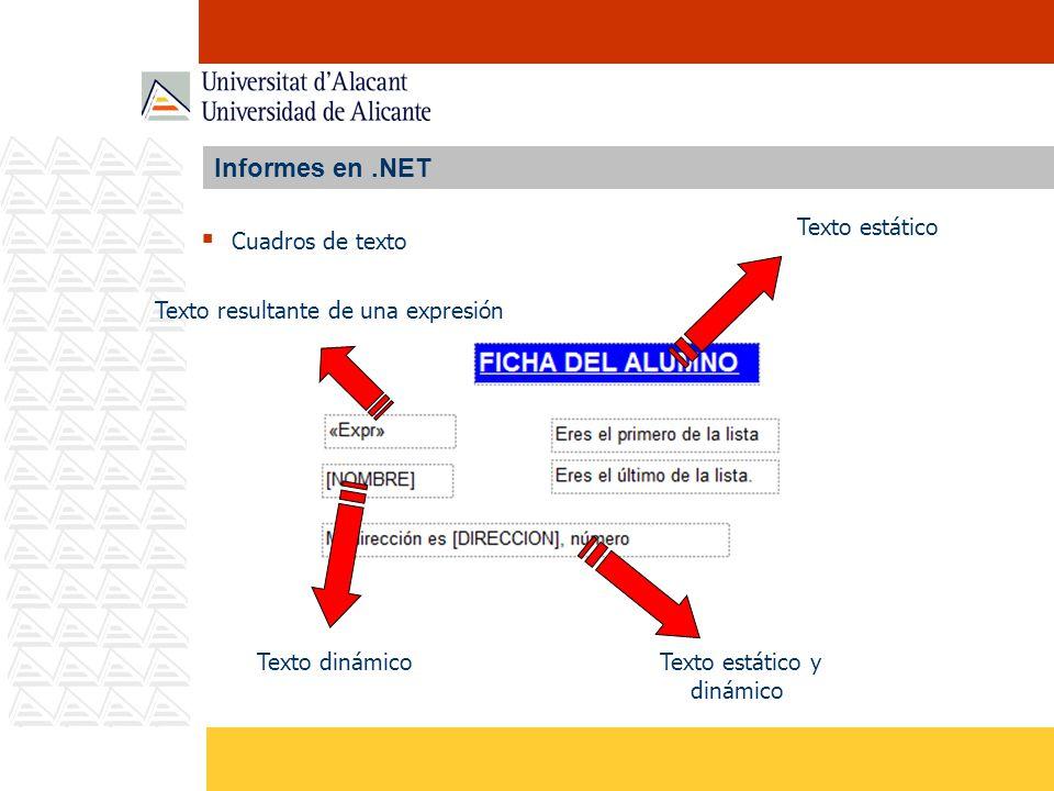 Informes en .NET Texto estático Cuadros de texto