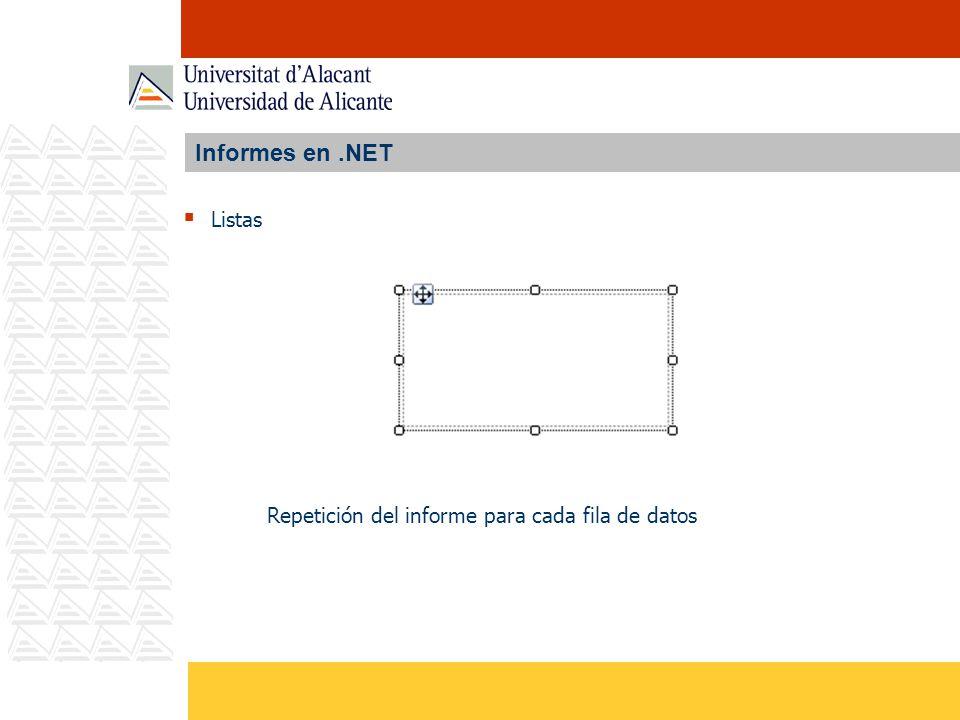 Informes en .NET Listas Repetición del informe para cada fila de datos