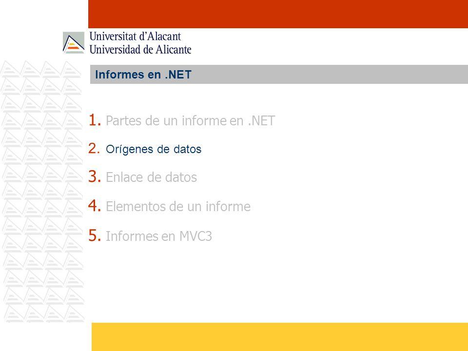 Partes de un informe en .NET