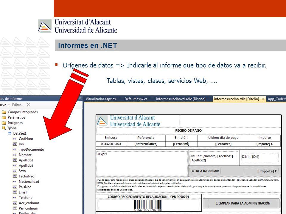 Informes en .NET Orígenes de datos => Indicarle al informe que tipo de datos va a recibir.