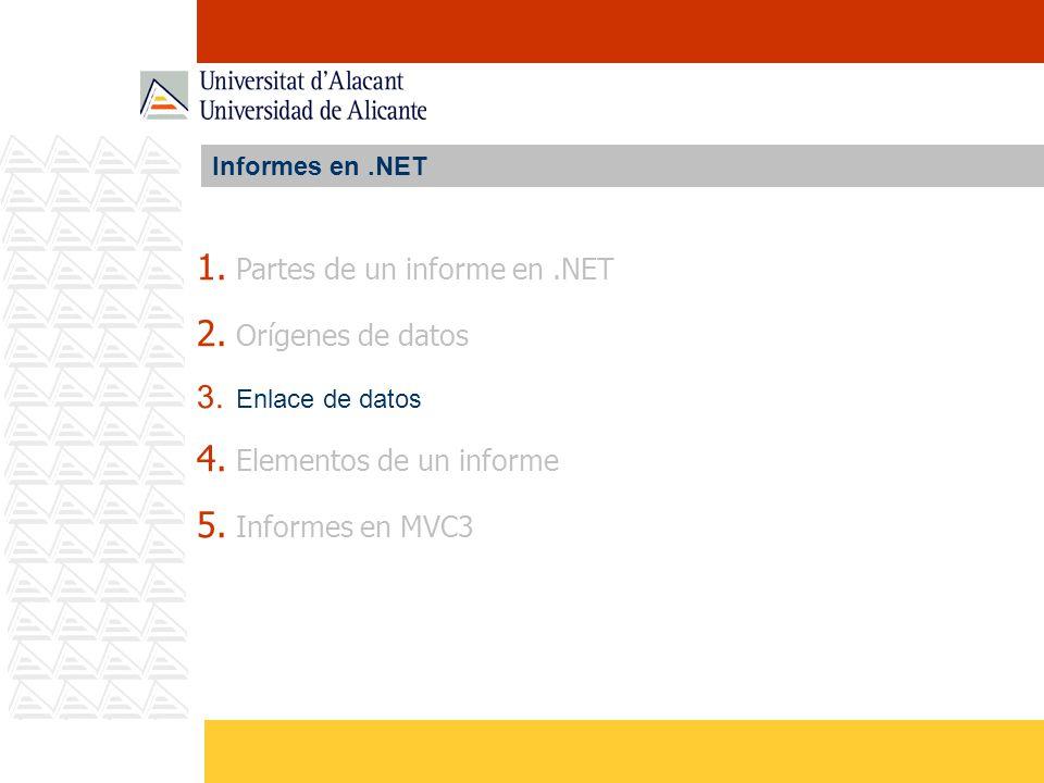 Partes de un informe en .NET Orígenes de datos