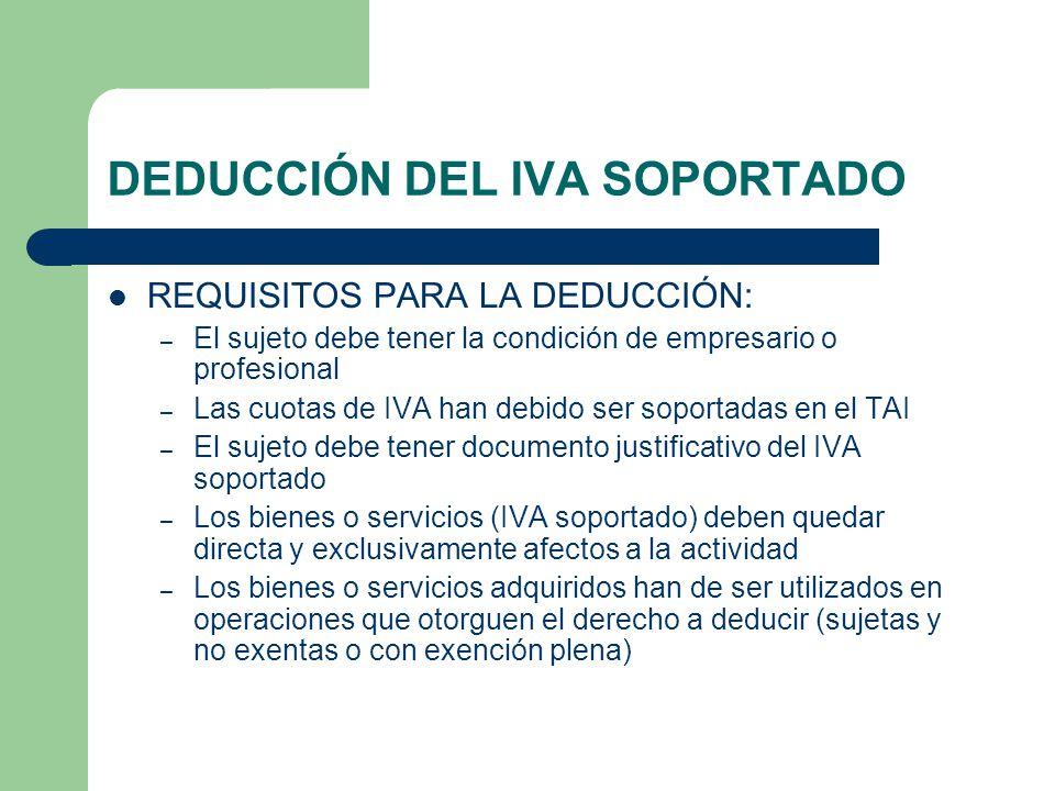 DEDUCCIÓN DEL IVA SOPORTADO