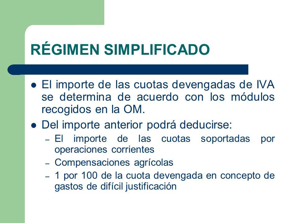 RÉGIMEN SIMPLIFICADO El importe de las cuotas devengadas de IVA se determina de acuerdo con los módulos recogidos en la OM.