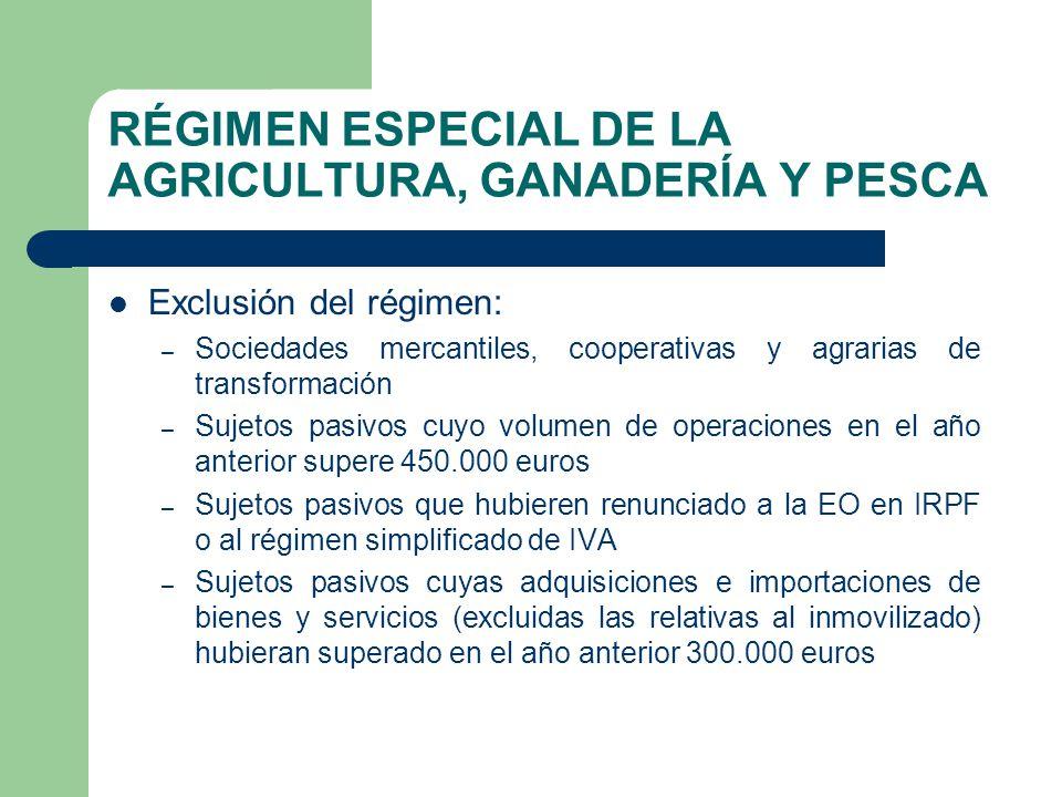 RÉGIMEN ESPECIAL DE LA AGRICULTURA, GANADERÍA Y PESCA