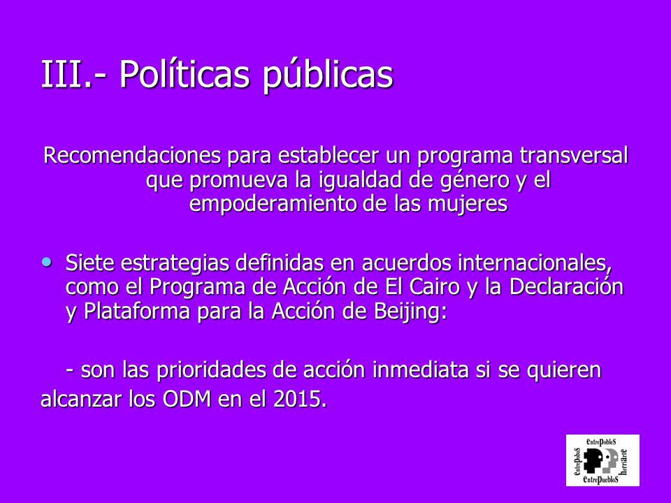 III.- Políticas públicas