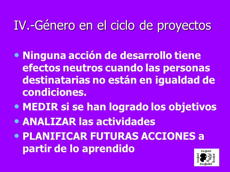 IV.-Género en el ciclo de proyectos