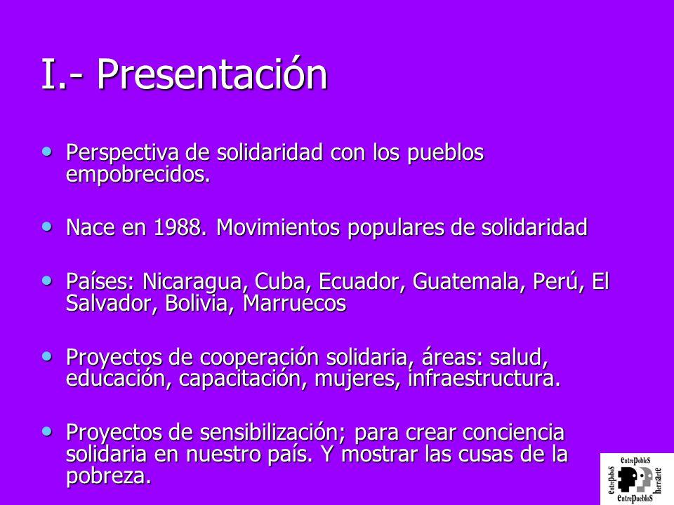 I.- Presentación Perspectiva de solidaridad con los pueblos empobrecidos. Nace en 1988. Movimientos populares de solidaridad.