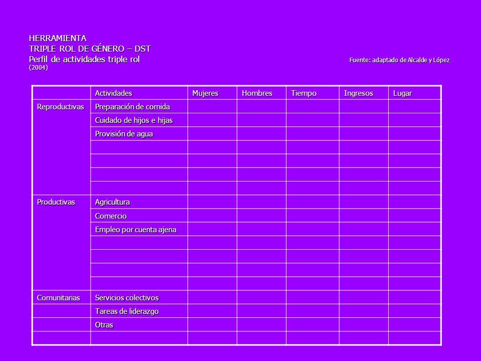 HERRAMIENTA TRIPLE ROL DE GÉNERO – DST Perfil de actividades triple rol Fuente: adaptado de Alcalde y López (2004)