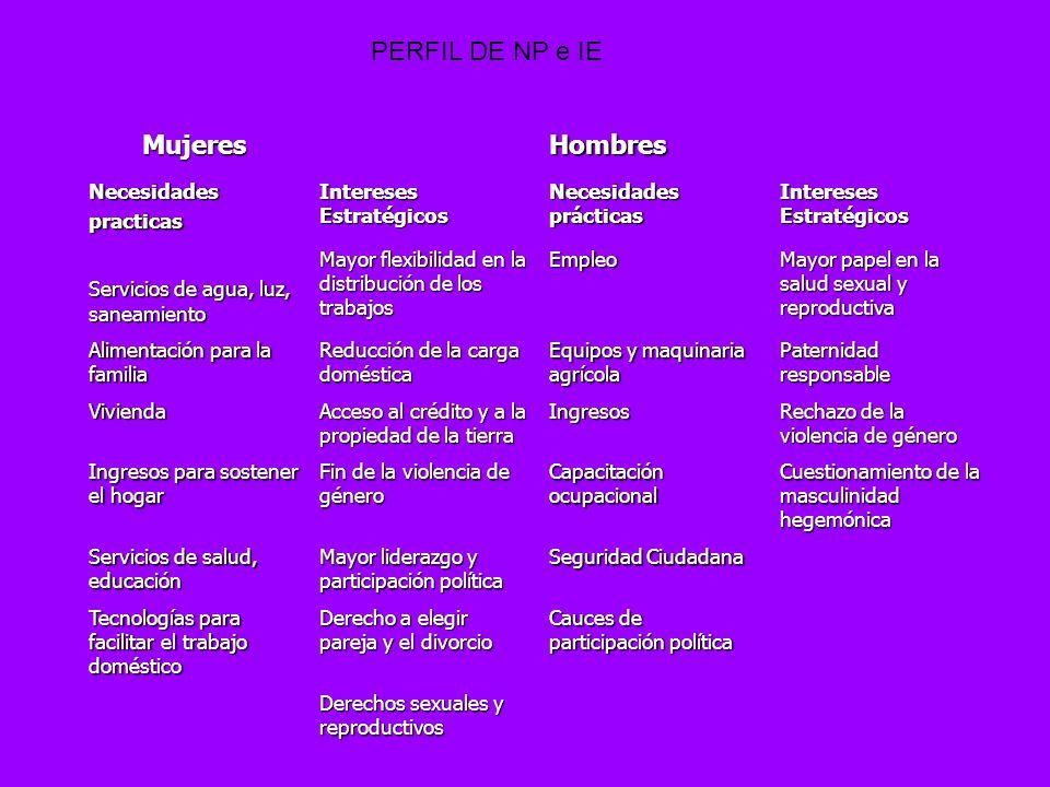 PERFIL DE NP e IE Mujeres Hombres Necesidades practicas
